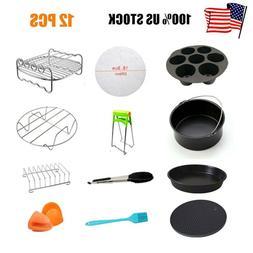 12Pcs 7'' Air Fryer Accessories Set Pizza BBQ Pan Chips Roas