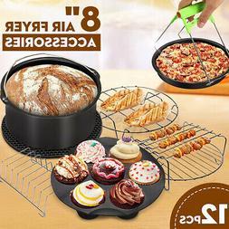 12Pcs 8'' Air Fryer Accessory Set Pizza Pan Mat Baking For P