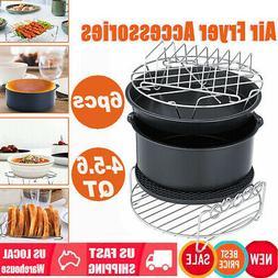 """6Pcs 8"""" Air Fryer Accessories Set Baking Basket Pizza Pan &"""