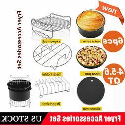 6Pcs 8'' Air Fryer Accessories Set Pizza Pan Chips Baking Fo