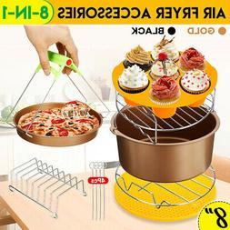 """8"""" 8Pcs Air Fryer Accessories Set Chips Baking Basket Pan Ra"""