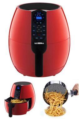 Air Fryer 3.7 Qt. Red Temperature Display Deep Fryers Small