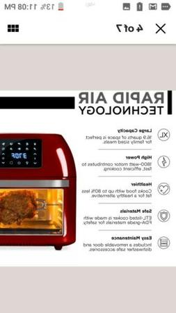 BCP 16.9qt 1800W 10-in-1 XXXL Air Fryer Countertop Oven, Rot