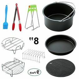 "MySit Big Large XL Air Fryer Accessories 8"", Set of 9, for P"