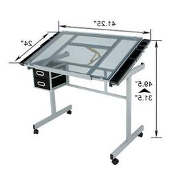 Drawing Desk Craft Station Drafting Table Tempered Glass Top