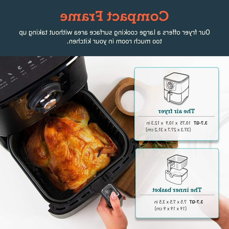 COSORI 3.7 Qt Fryer Oven Oilless 1500W Recipes Yr Warranty Black