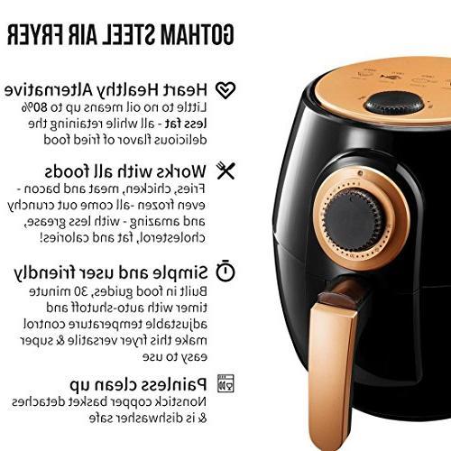 Gotham Steel Air Fryer XL Rapid Air for Oil Healthy Adjustable with Auto Shutoff–Dishwasher Nonstick Copper