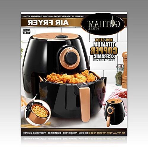 Gotham Fryer XL Rapid Technology Oil Adjustable Temperature Auto Shutoff–Dishwasher Safe Nonstick Copper