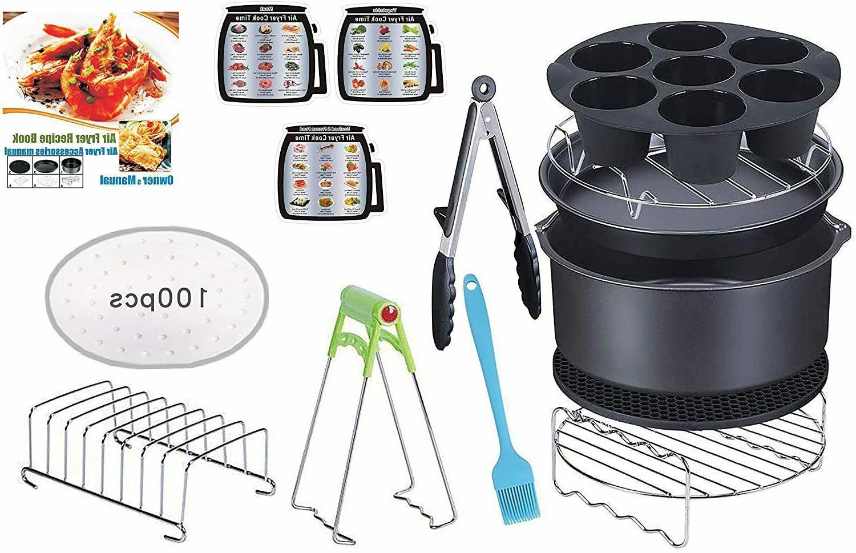 15 Pcs 8 Inch Xl Air Fryer Accessories Deep Fryer with Recip