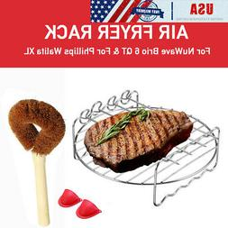 USA Air Fryer Tray Rack + Brush Gloves for NuWave Brio 6 QT/