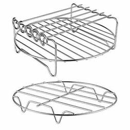XL Air Fryer Rack Set of 2 Double Layer Rack +Skewer, for Po